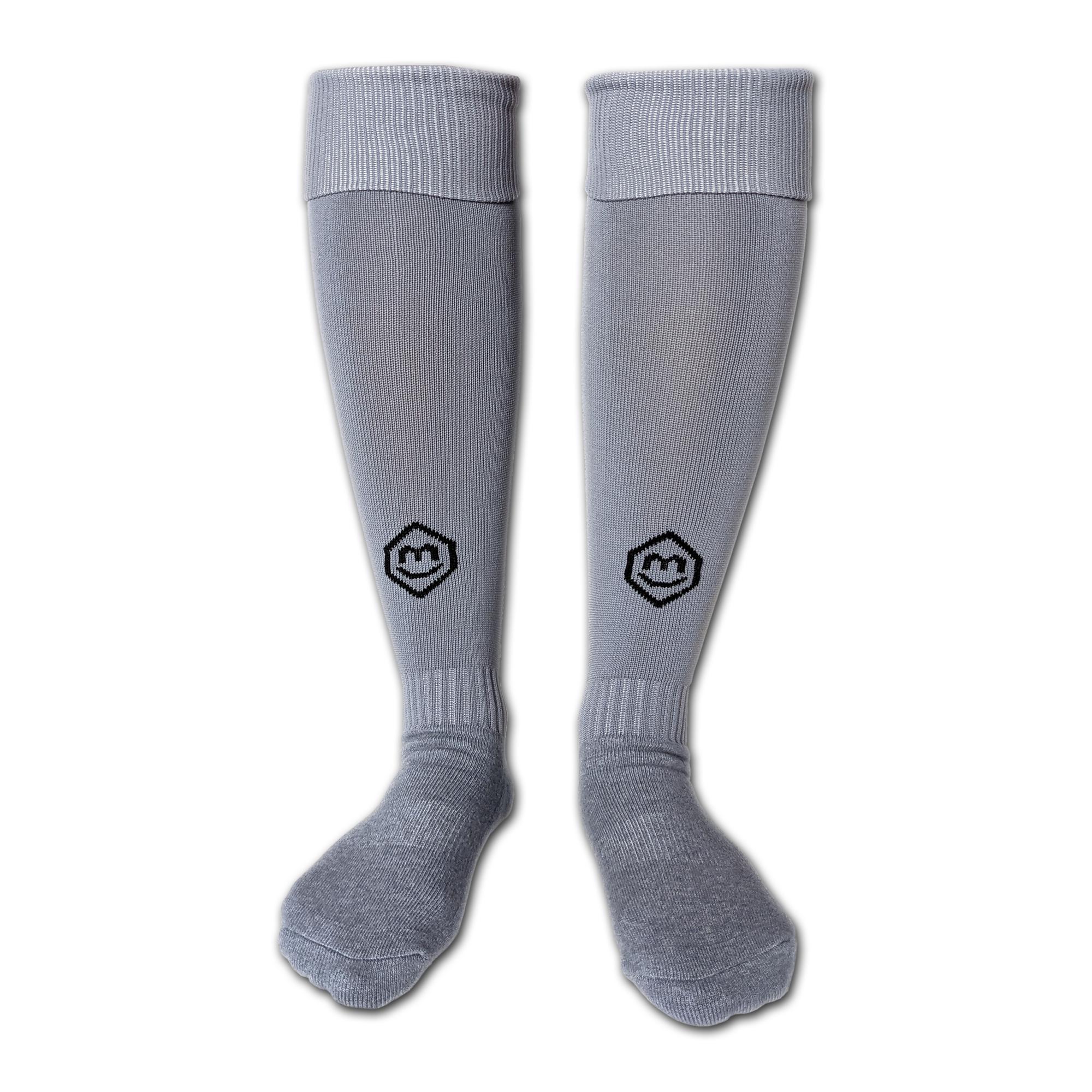 Fußballsutzen / Fußball Socken in grau (Vorderansicht)
